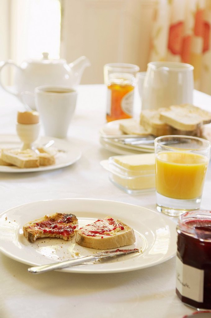 Stock Photo: 1654R-6738 Plate with half_eaten toast covered in jam on table set for breakfast