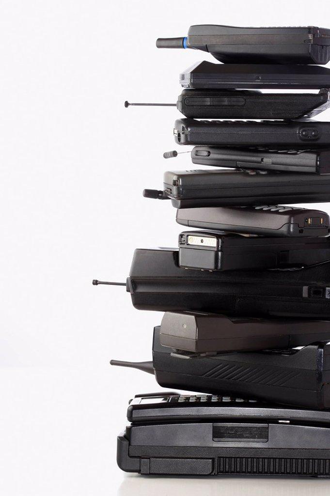 Pile of wireless phones : Stock Photo