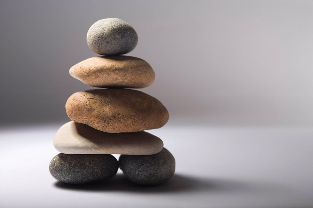 Stock Photo: 1654R-7063 Stack of balanced pebbles