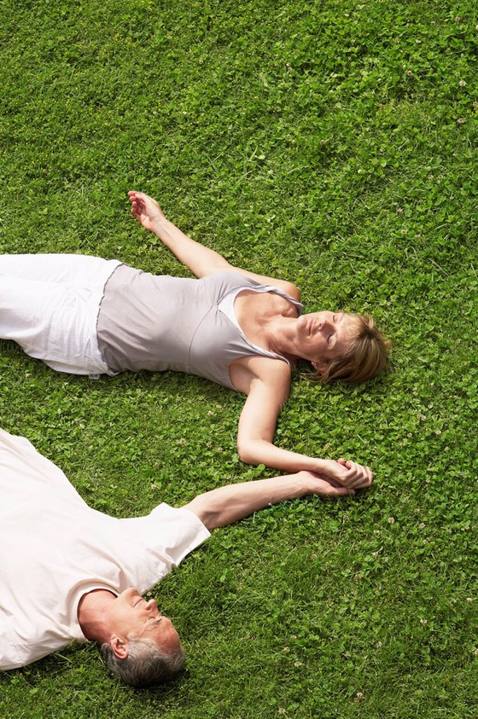 Stock Photo: 1654R-7286 Middle_aged couple together sleeping on grass high angle view