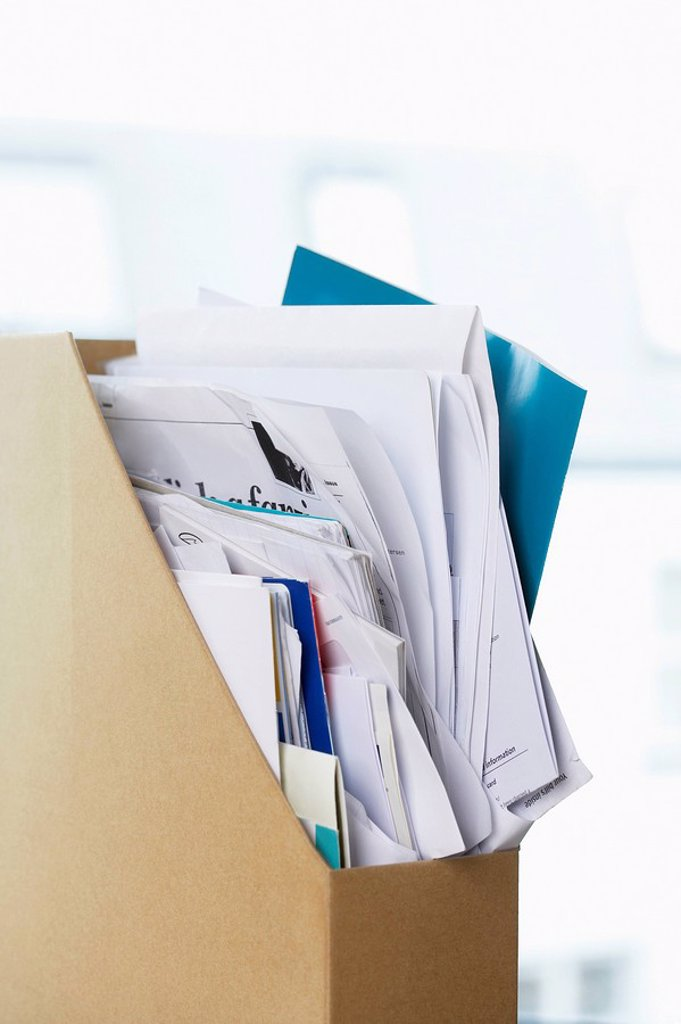 Box file crammed with papers : Stock Photo