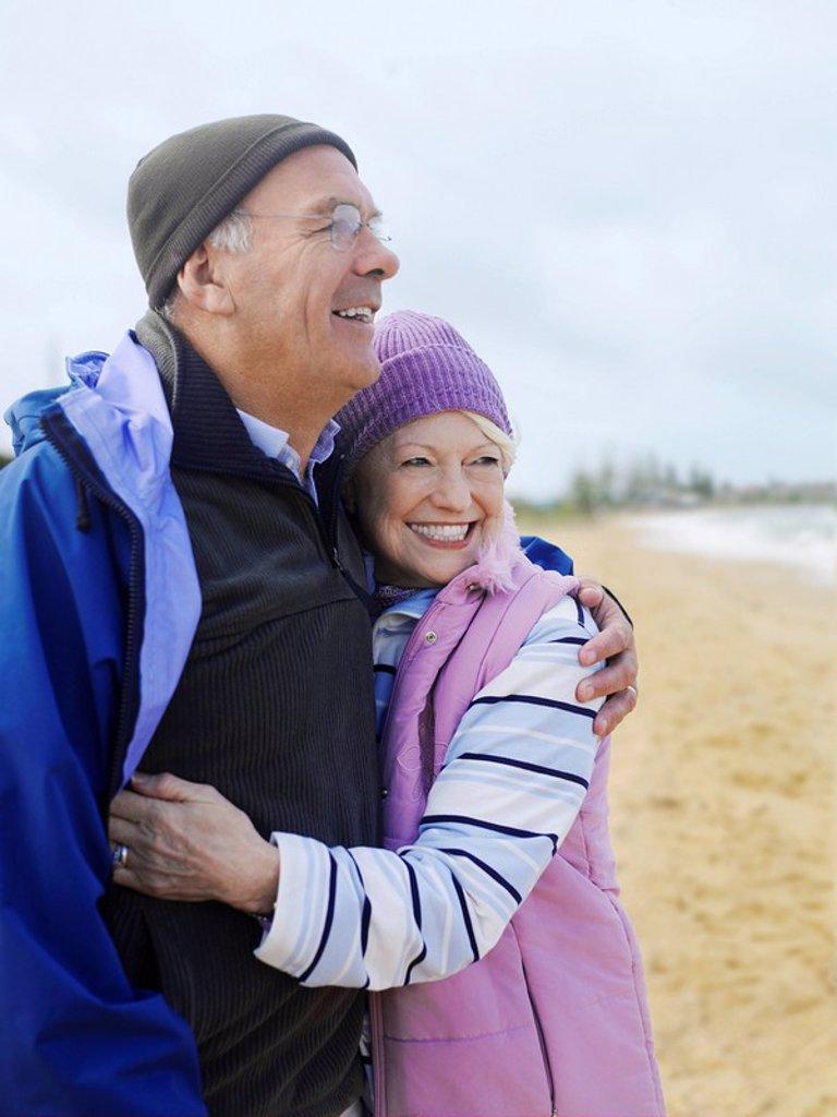 Stock Photo: 1654R-7362 Senior couple embracing outdoors