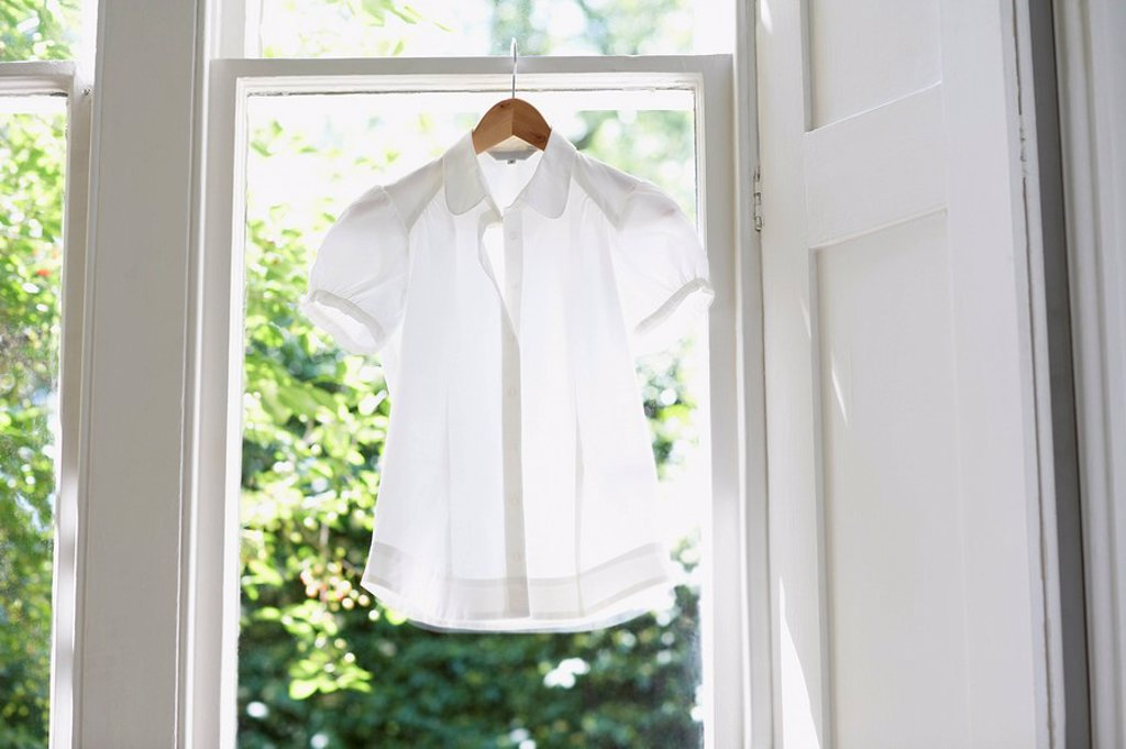 Stock Photo: 1654R-7827 Blouse on Hanger in domestic window