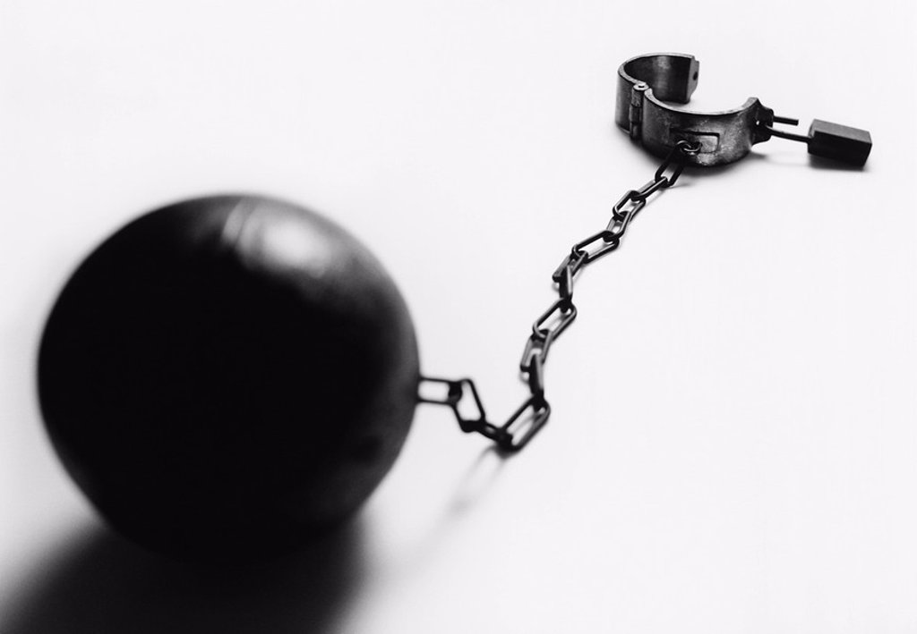 Ball and chain b&w : Stock Photo