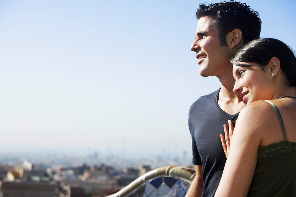 Young couple enjoying view portrait : Stock Photo