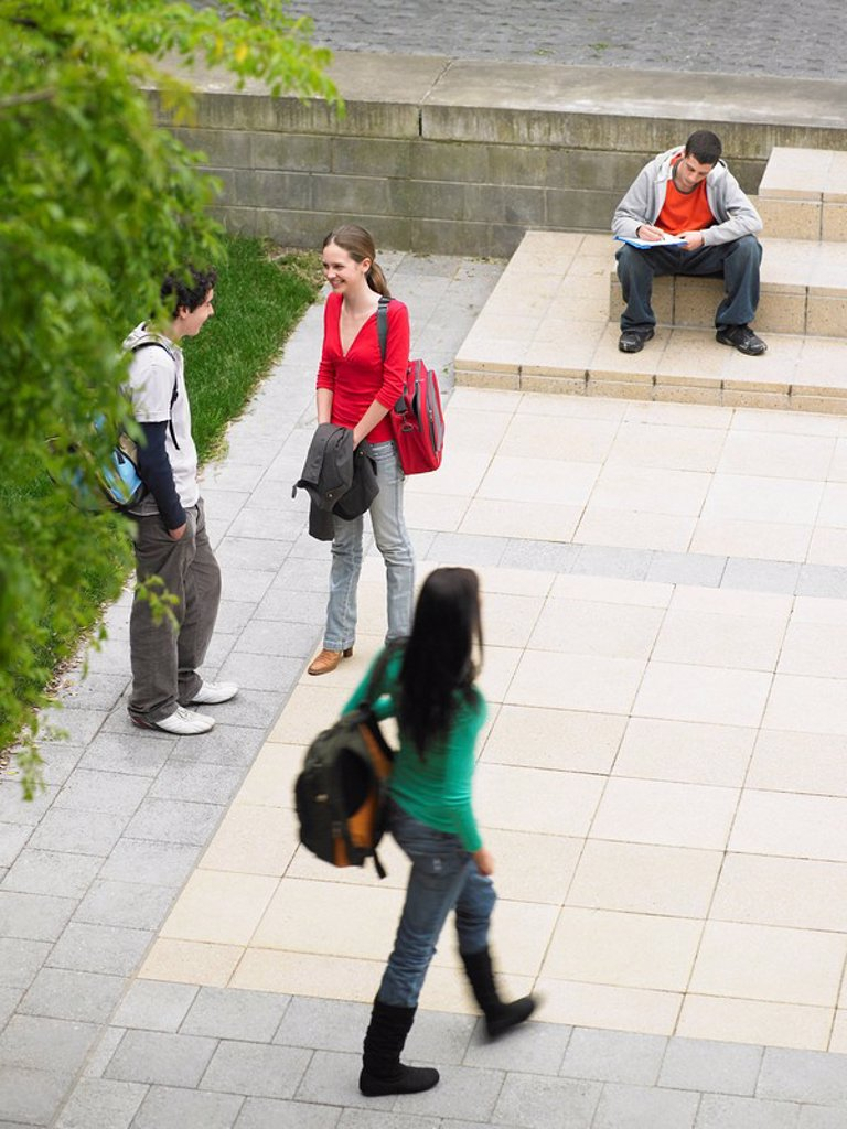 Stock Photo: 1654R-9860 Students sitting and standing on school grounds outdoors elevated view