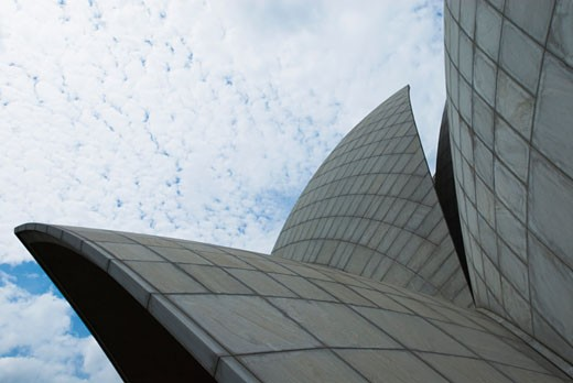 Low angle view of a temple, Lotus Temple, New Delhi, India : Stock Photo