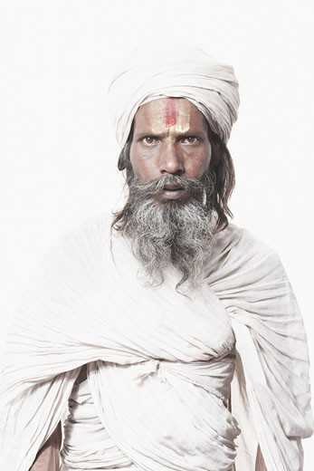 Stock Photo: 1657R-12737 Portrait of a sadhu looking serious