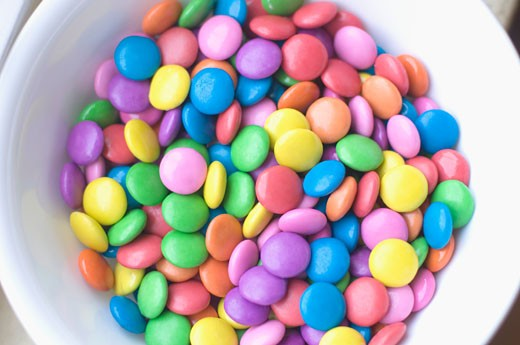 Close-up of candies in a bowl : Stock Photo