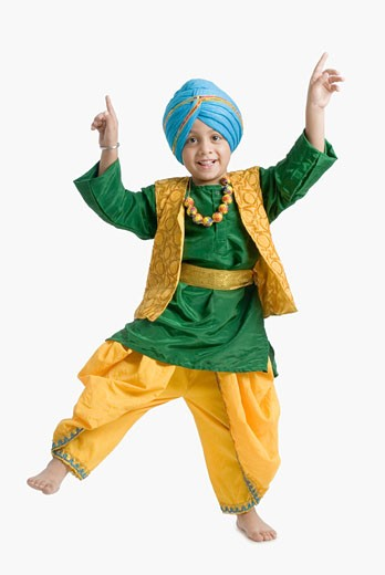 Stock Photo: 1657R-16365 Portrait of a boy doing bhangra