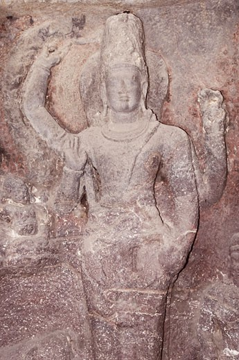 Statue of lord Vishnu carved in a cave, Ellora, Aurangabad, Maharashtra, India : Stock Photo