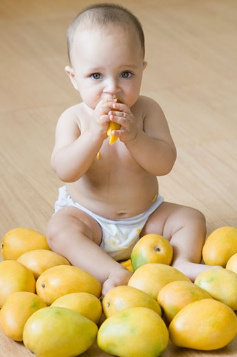 Portrait of a baby boy eating a mango : Stock Photo
