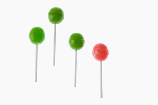 Stock Photo: 1657R-17147 Close-up of four lollipops