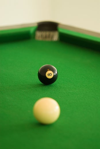 Close-up of pool balls on a pool table : Stock Photo