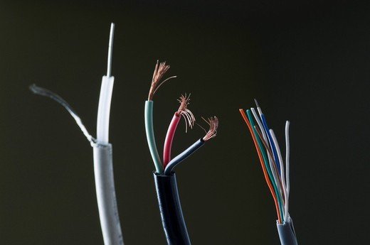 Close-up of multi-colored power cables : Stock Photo