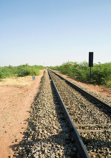 Stock Photo: 1657R-31038 Railroad track passing through a landscape, Jodhpur, Rajasthan, India