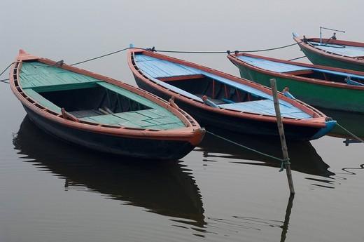 High angle view of boats moored in a river, Ganges River, Varanasi, Uttar Pradesh, India : Stock Photo