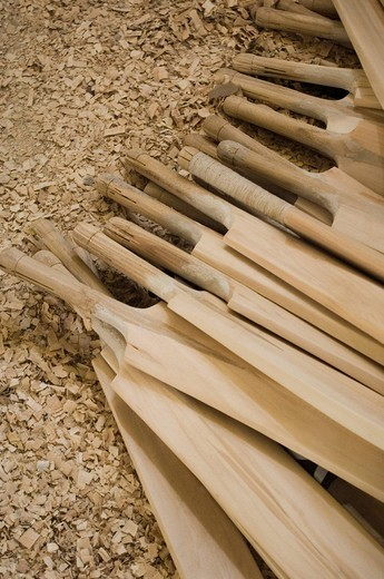 High angle view of cricket bats : Stock Photo