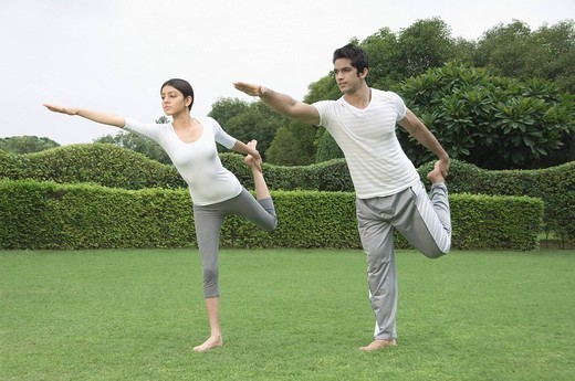 Couple practicing yoga in a park : Stock Photo
