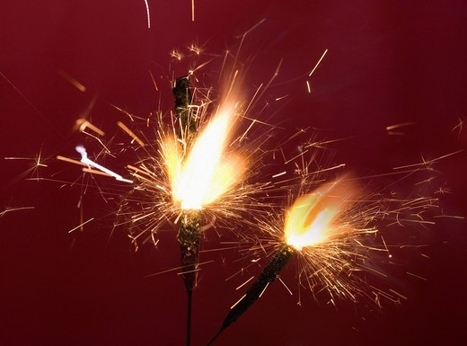 Close_up of firecrackers burning : Stock Photo