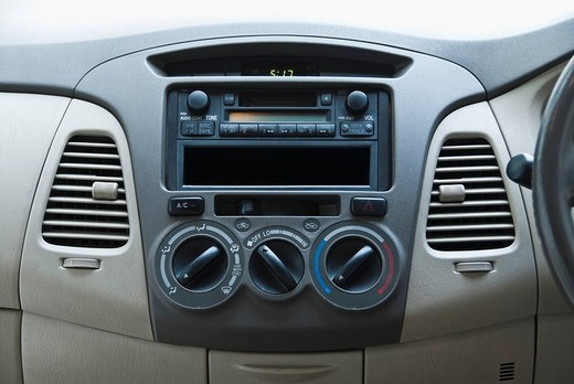 Close_up of the dashboard of a car, Delhi, India : Stock Photo