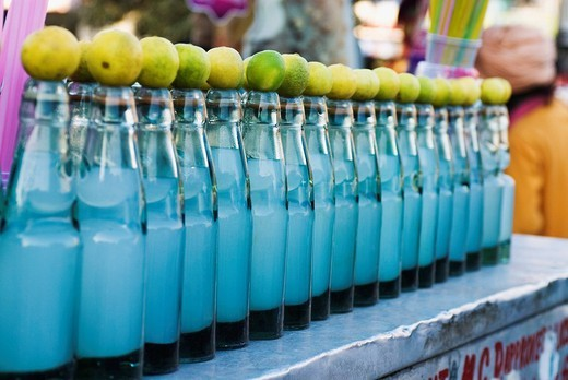 Cold drink bottles on a stall, New Delhi, India : Stock Photo