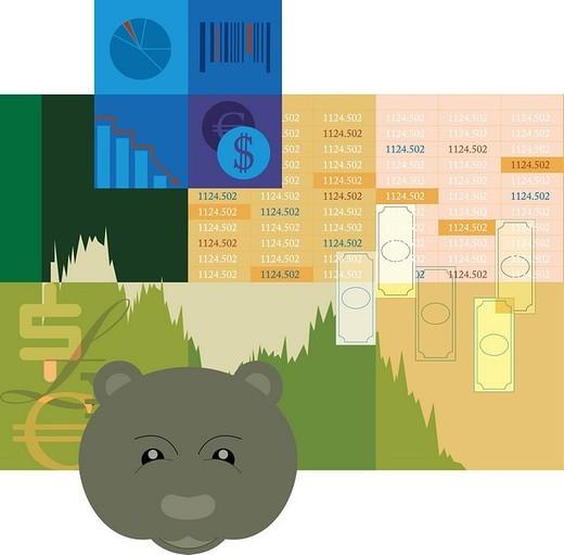 Illustration showing the bear market : Stock Photo