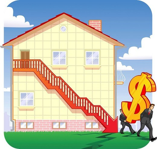 Stock Photo: 1657R-34057 Downfall in real estate prices