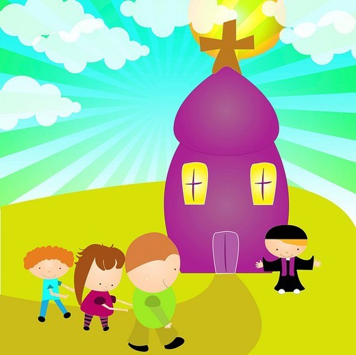 Children going to the church : Stock Photo