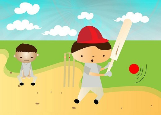 Boys playing cricket : Stock Photo