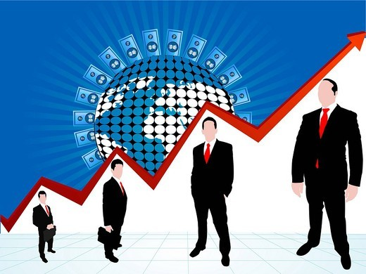 Illustrative representation of global profit : Stock Photo