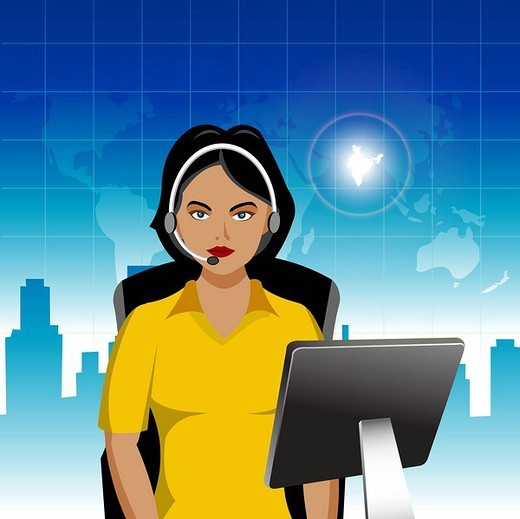 Female customer service representative with India highlighted in the map : Stock Photo