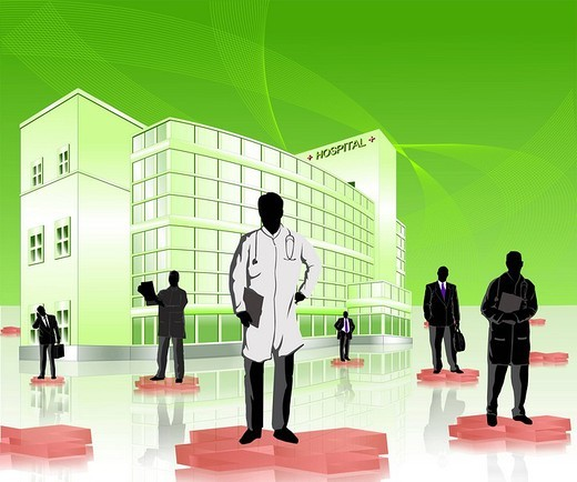 Doctors and medical sales representatives in a hospital : Stock Photo