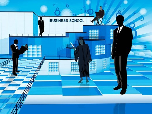 Students and businessmen in front of business school : Stock Photo