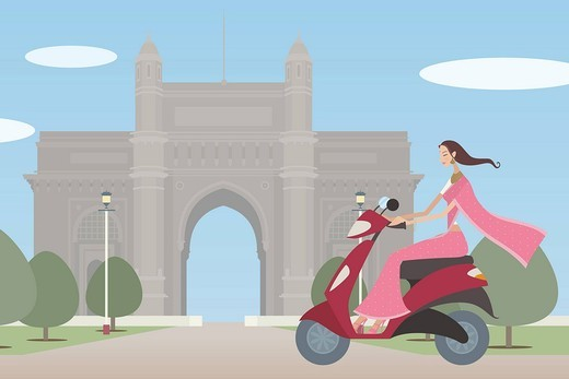 Woman riding a motor scooter in front of a monument, Gateway Of India, Mumbai, Maharashtra, India : Stock Photo