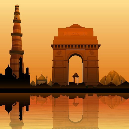 Stock Photo: 1657R-34852 Montage of monuments at riverbank, New Delhi, India