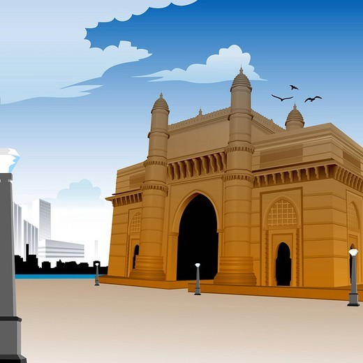 Stock Photo: 1657R-34861 Facade of a monument, Gateway Of India, Mumbai, Maharashtra, India