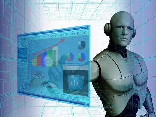 Stock Photo: 1657R-34927 Robot using a virtual screen for stock trading