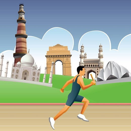 Man running on a racing track with historical buildings in the background : Stock Photo