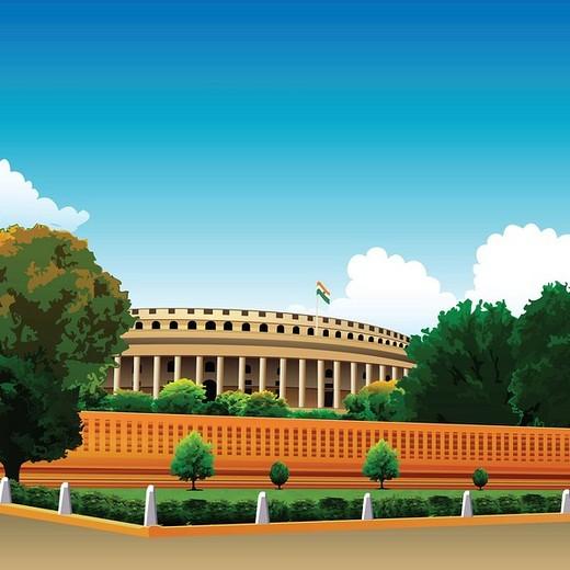 Stock Photo: 1657R-34950 Indian flag on a government building, Sansad Bhawan, New Delhi, India