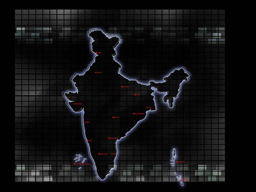 Close_up of map of India : Stock Photo