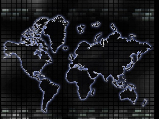 Stock Photo: 1657R-34955 Close_up of a world map