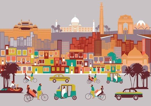 City with montage of landmarks, New Delhi, India : Stock Photo