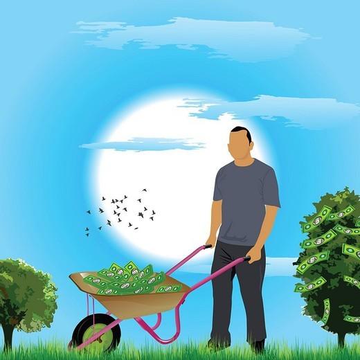Businessman pushing a wheelbarrow of money near a money tree : Stock Photo