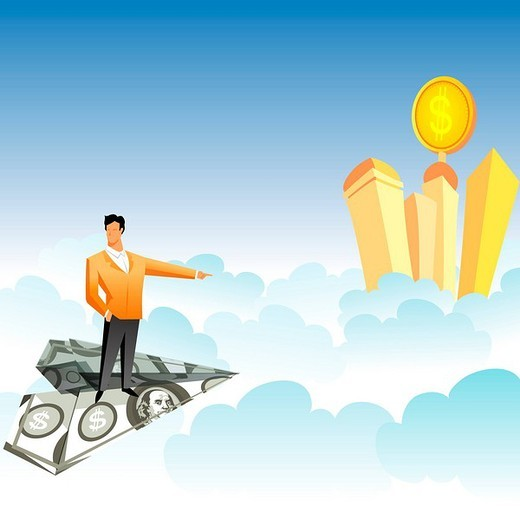 Businessman traveling on a paper airplane and pointing towards skyscrapers over the clouds : Stock Photo