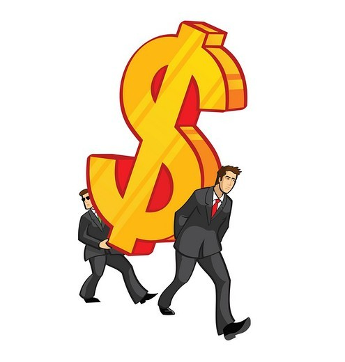 Two businessmen carrying an oversized dollar sign : Stock Photo