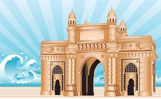Facade of a monument, Gateway Of India, Mumbai, Maharashtra, India : Stock Photo