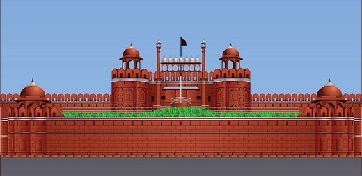 Facade of a fort, Red Fort, Delhi, India : Stock Photo