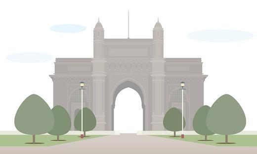 Trees in front of a monument, Gateway Of India, Mumbai, Maharashtra, India : Stock Photo
