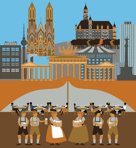 Illustration showing top tourist attractions in Germany : Stock Photo
